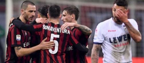 Esultanza Milan dopo il gol a San Siro