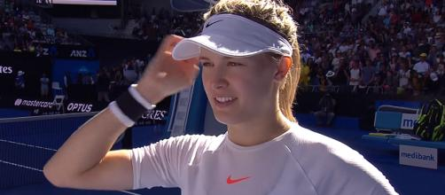 Eugenie Bouchard during an on-court interview at 2017 Australian Open/ Photo: screenshot via Australian Open TV channel on YouTube