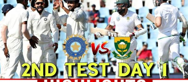 Indians celebrate on Day 1 of second test. Image credit screen shot (Youtube-cric7 sports)