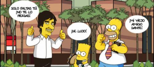 Dante Gebel en un dibujo satirizando Los Simpsons