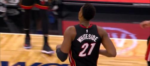 Hassan Whiteside is back, but the Heat continue to have problems with injuries. Image Credit: NBA / YouTube