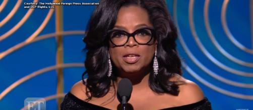 Oprah acceptance speech at the Golden Globe Awards. [ image credit ET / YouTube screenshot ]