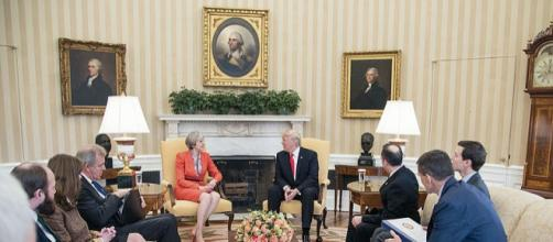 Donald Trump with Theresa May in the Oval Office (Image credit - Shealah Craighead, Wikimedia Commons)