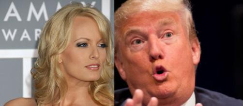 L'ex pornodiva Stormy Daniels ed il presidente USA, Donald Trump