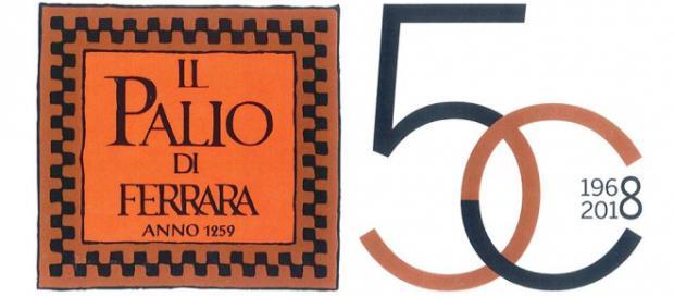 Il logo del cinquantesimo anniversario del Palio di Ferrara realizzato dallo Studio Borsetti (fonte: Ente Palio Città di Ferrara)