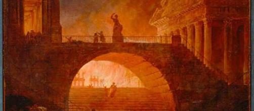 """""""Incendie a Rome"""" by Robert Hubert (Image: 18th century landscape painter public domain/Pixabay)"""