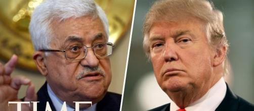 Trump and Abbas are rivals. Image credit screenshot YouTube.com from Time streamed live