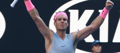 Rafael Nadal celebrating his second round win at the 2018 AO/ Photo: screenshot via Australian Open TV channel on YouTube