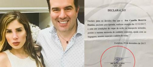 Camilla Urckers viajou com autorização de médico que a operou, Danilo Dias
