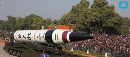 Indian nuclear-capable missile on display prior to test launch in 2016. [image credit: Wochit News / YouTube screenshot]