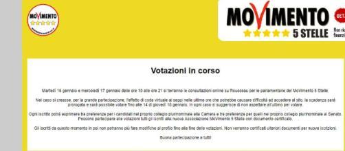La Schermata dell'Associazione Movimento 5 Stelle che dà indicazioni sulle modalità di voto