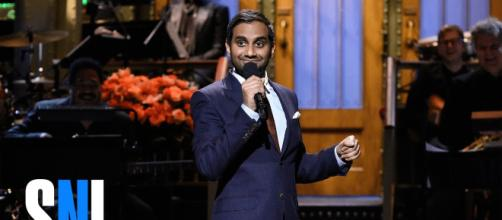 Comedian Aziz Ansari becomes the latest celeb to face sexual harassment allegations. Photo By: Saturday Night Live/YouTube Screen Capture