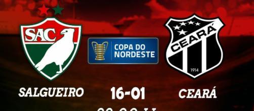 Salgueiro x Ceará pela Copa do Nordeste hoje