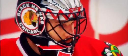 Corey Crawford may miss the rest of the season. - [captain lazer / YouTube screencap]
