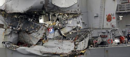 damage suffred by one of the warships. Image credit screenshot youtube.com BBC channel