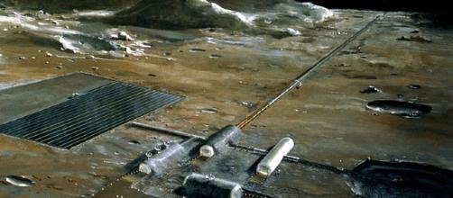 Future moon base [image courtesy NASA wikimedia commons]