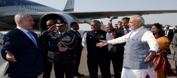 Israeli Prime Minister Benjamin Netanyahu arrived in New Delhi (Image via Benjamin Netanyahu/Twitter)