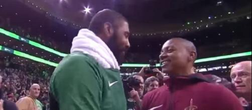 Kyrie Irving greets Isaiah Thomas after the Celtics-Cavaliers game (Image Credit: Fruit Hoops/YouTube)