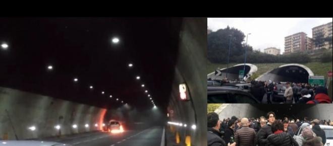 Paura sulla Tangenziale di Napoli: auto esplosa e avvolta dalle fiamme
