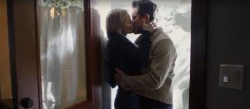"""Charles Esten and Kaitlin Doubleday take the dive into love as Deacon and Jessie on """"Nashville"""" in """"Jump Then Fall."""" [Image cap CMT/YouTube]"""