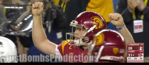 USC quarterback Sam Darnold will enter NFL draft. [ image credit: JustBombsProductions/ YouTube Screenshot ]