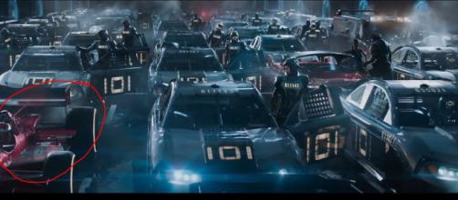 Car race shot that shows Easter eggs. - [Image Credit: BBC / YouTube screencap]