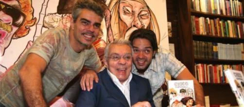Chico Anysio e seus filhos Bruno Mazzeo e Nizo Neto, que foi demitido da Globo