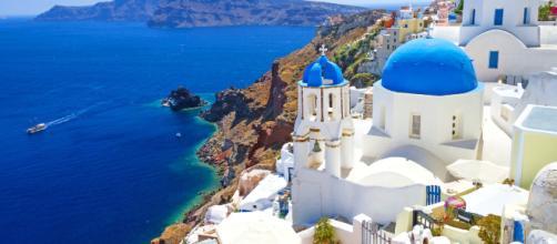 Ilha grega de Santorini, no arquipélago das Cíclades