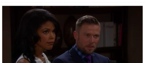 Maya tells Carter that her marriage to Rick is soild. (Image via The Bold and the Beautiful UK Youtube screencap).