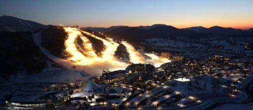 Suggestiva veduta di Pyeongchang, Corea del Sud, sede dei XXIII Giochi Olimpici Invernali