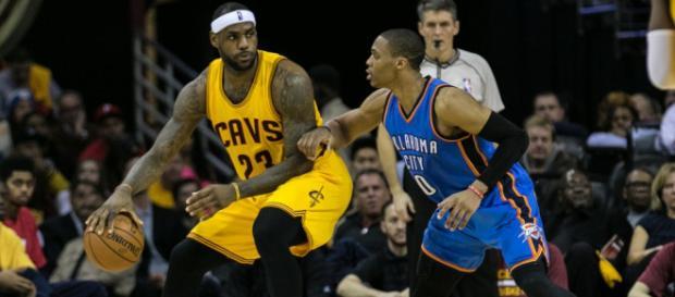 LeBron congratulates Westbrook - (Image Credit: NBA/YouTube screencap)