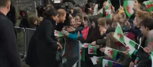 Prince Harry and Meghan Markle Meet Royal Fans in Cardiff Wales (2018) -Image credit - WalrusRider | YouTube