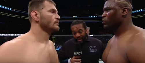 Stipe Miocic against Francis Ngannou. - [UFC On FOX / YouTube screencap]