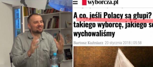Bartosz Kuźniarz przedstawia swój mało inteligentny artykuł na temat Polaków (screen Twitter)