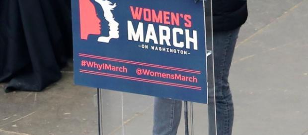 Scarlett Johansson addresses the Women's March in Los Angeles [image via commons.wikimedia.org]