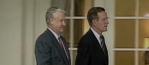 George Bush meeting Boris Yeltsin- [Image via iconi/YouTube]