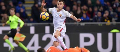 Il gol del vantaggio della Roma
