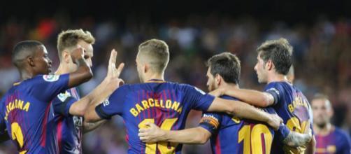 Los jugadores del Barça celebran uno de los goles frente al Betis