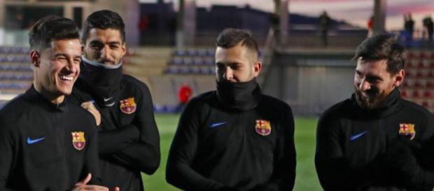 Coutinho en uno de sus primeros entrenamientos con el Barça