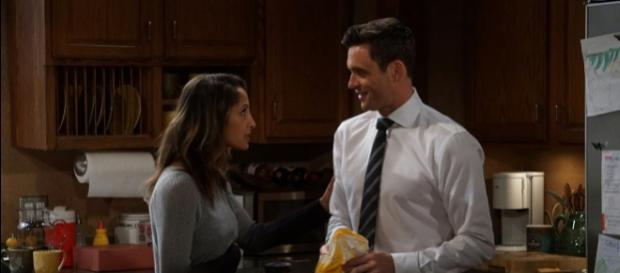 Pictured: Christel Khalil and Daniel Goddard [Image via CBS/Monty Brinton, used with CBS license]
