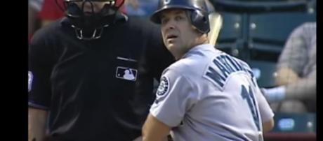 Edgar Martinez prepares to hit his final home run with the Seattle Mariners. - [MLB / YouTube screencap]