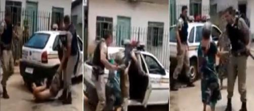 Idosa é agredida por policiais (Foto: Captura de vídeo)