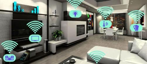 Ilustración de una smart house (domótica)