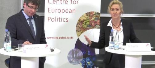 Marlene Wind con Puigdemont en Copenhague