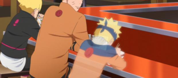 Boruto junto a su padre llamado Naruto