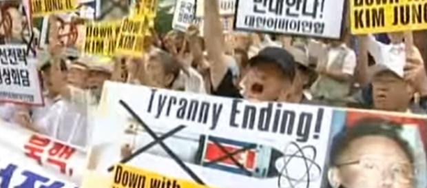 nti North Korea protest in Seoul as leaders prepare for summit - Image credit - AP Archive | YouTube
