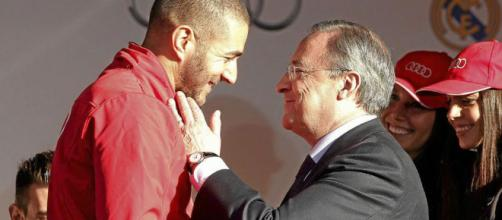 Karim Benzema junto a Florentino Perez