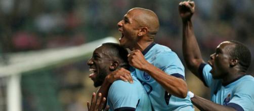 Les trois joueurs qui constituent le trident offensif de Porto apres le but du Malien Marega
