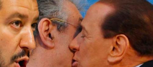 Matteo Salvini, Umberto Bossi, Silvio Berlusconi (Foto L'intraprendente)