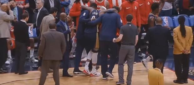 DeMarcus Cousins achilles injury! Rockets vs Pelicans January 26, 2018. [image source: CliveNBAParody/YouTube screenshot]